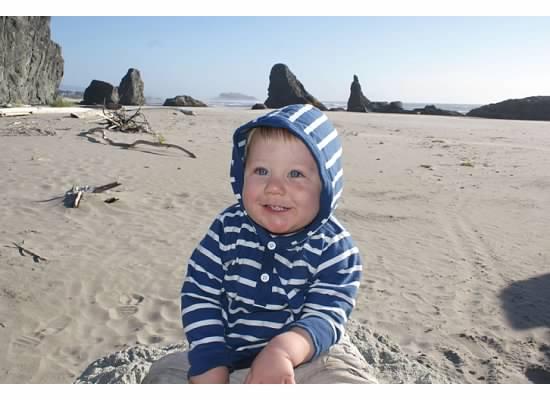 declan on beach in oregon