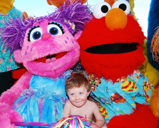 Declan with Elmo and Abby